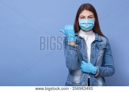 Image Of Brunette Caucasian Woman With Long Hair, Wearing Medical Face Mask And Disposable Gloves Po