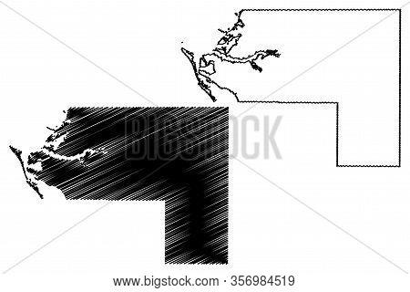 Manatee County, Florida (u.s. County, United States Of America,usa, U.s., Us) Map Vector Illustratio