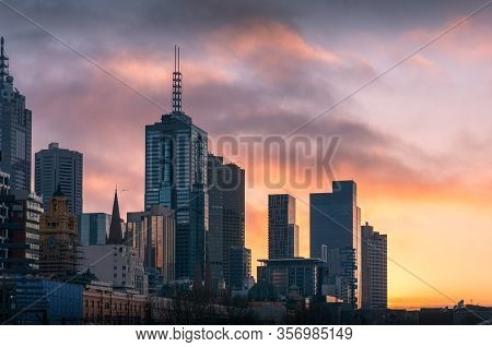 Melbourne Cityscape At Sunrise With Melbourne Cbd Highrise Commercial And Residential Buildings
