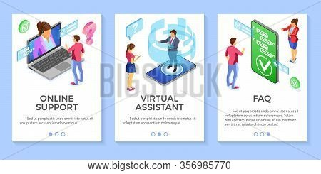 Online Isometric Customer Support Faq Virtual Assistant Templates. Vertical Banners Call Center Smar