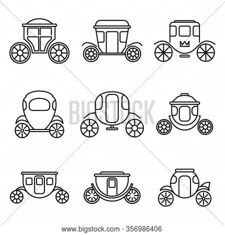 Brougham Carriage Icons Set. Outline Set Of Brougham Carriage Vector Icons For Web Design Isolated O