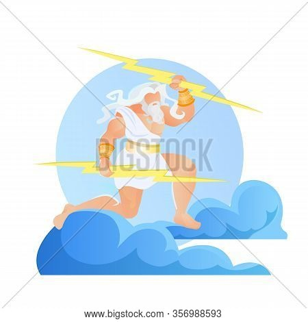 Zeus Thunderer With Lightnings In Hands Wearing White Toga Or Tunic Stand At Clouds On Sky. Jupiter