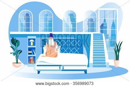 Woman In Large Bedroom With Shelving And Planters On Floor, Reading Bedside Book Before Falling Asle