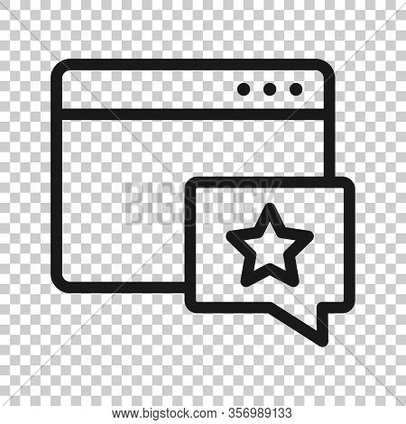Browser Window With Star Icon In Flat Style. Wish List Vector Illustration On White Isolated Backgro