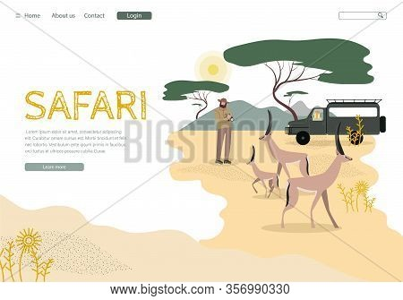 African Safari Tour Landing Page Vector Template. Africa Wildlife And Nature Exploration Website Hom