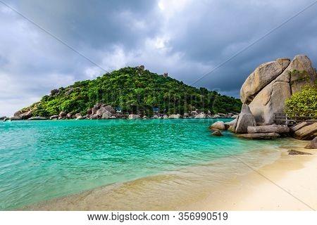Shore Of An Tropical Island Koh Tao Thailand
