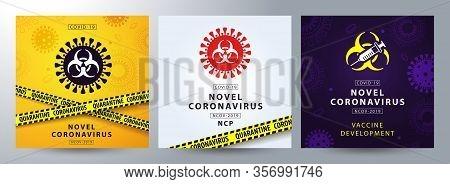 Coronavirus Outbreak Poster Or Banner Set In Modern Style. Coronavirus 2019-ncov. Pandemic Medical H