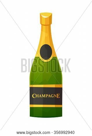 Champagne Bottle With Gold Foil Isolated On White Background Vector