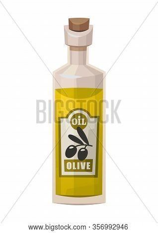 Glass Bottle With Olives Oil Isolated On White Background Vector