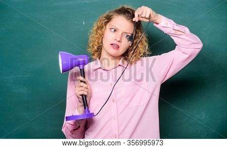 Enlightenment. Idea And Inspiration. Brainstorming Woman. Teacher With Lamp At School Blackboard. St