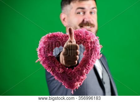 Valentines Day Holiday. Love. Wedding Day. Stylish Esthete With Decorative Heart. Bearded Man In For
