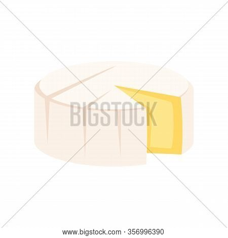 Soft Brie Cheese Flat Icon. Vector Soft Brie Cheese In Flat Style Isolated On White Background. Elem