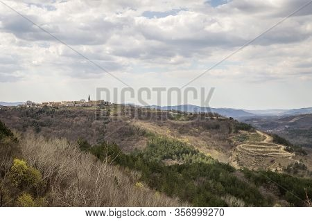 View Of Picturesque Village Draguc, On The Doorstep Of Spring,  Istria, Croatia