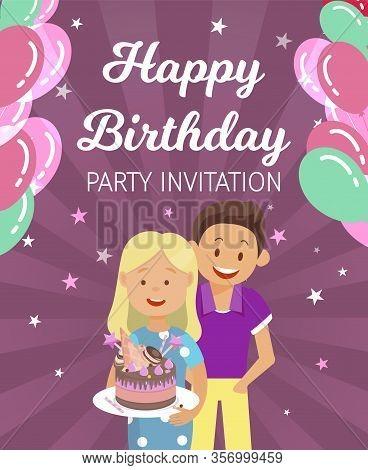 Banner Written Happy Birthday Party Invitation. Holiday Organization For Children. Boy And Girl Brou