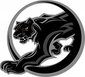 Graphic Mascot Vector Image of a Black Panther Body poster