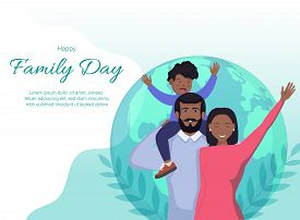Happy International Family Day. Family Day. Family Day background. Family Day poster. Family Day illustration. Family Day banners. Family day Vectors. Family Day Vector Illustration. International Family Day template. Happy African American family of thre