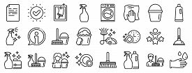 Laundry, Window Sponge And Vacuum Cleaner Icons. Cleaning Line Icons. Washing Machine, Housekeeping