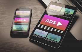 Programmatic Advertising Concept. Online Native Targeting Ads Marketing Strategy. Advertising Media