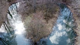 View Over A Small Lake In Forest, Near Annecy In Savoy, France