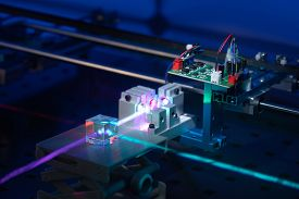 Laser development system in optical laboratory. Study of lasers  the science lab optical testing