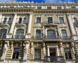 Riga Latvia September 14 2015: Details Of Art Nouveau Buildings Over One Third Of All Buildings In R