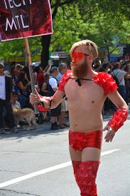 Montreal  August 16 2014: Participant  At The Community Day For Montreal Pride Celebrations Festival