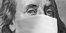 Protective Mask On Hundred Dollar Bill. Coronavirus 2019. Quarantine Measures. World Financial Crisi