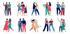 Lgbt Couples. Romantic Gay Couple Date, Happy People Hugging And Dancing Together. Gays And Lesbians
