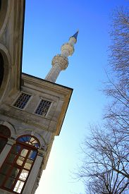 Symbol Of Islam, Nusretiye Mosque Minaret In Istanbul, Turkey.