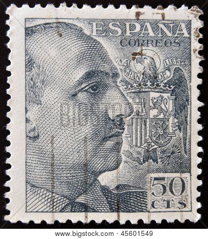 SPAIN - CIRCA 1940: stamp printed by Spain shows Francisco Franco circa 1940
