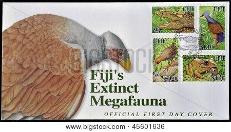 FIJI - CIRCA 2006: A postcard printed in Fiji dedicated to fiji�s extinct megafauna circa 2006