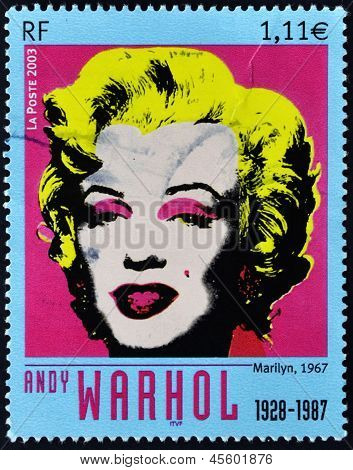 FRANCE - CIRCA 2003: A stamp printed in France shows Marilyn Monroe by Andy Warhol circa 2003