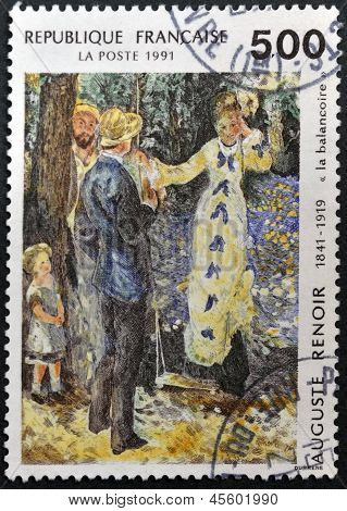 A stamp printed in France shows