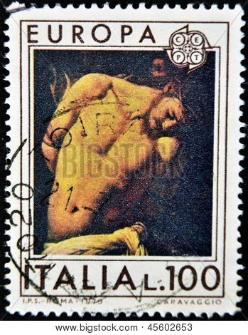 ITALY - CIRCA 1975: A stamp printed in Italy shows the flagellation of Christ by Caravaggio