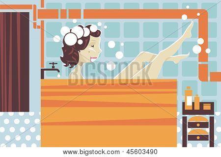 Young Woman In Bathtub