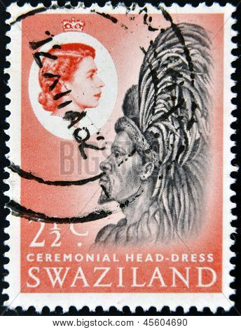 SWAZILAND - CIRCA 1975: A stamp printed in Swaziland dedicated to ceremonial head-dress circa 1975