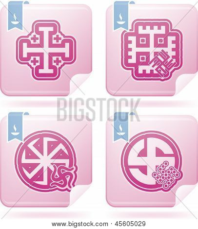 Religion is the adherence to codified beliefs and rituals included icons from left to right top to bottom: Jerusalem Cross Hands of God The Kolovrat Swastika The Kolovrat Swastika. poster