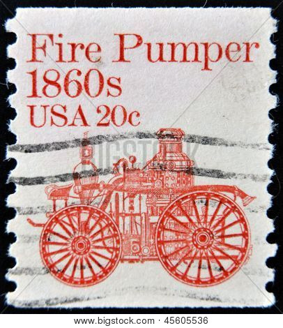 UNITED STATES OF AMERICA - CIRCA 1981: a stamp printed in USA shows Fire pumper 1860s fire truck