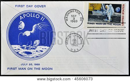A stamp printed in USA shows Neil Armstrong first man on the moon apollo 11