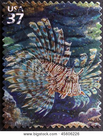 A stamp printed in USA shows lionfish