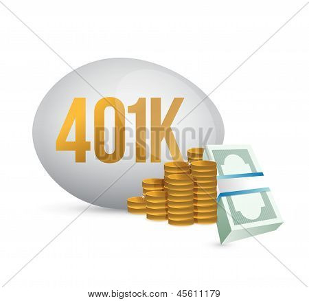 401K Egg And Cash Money Illustration