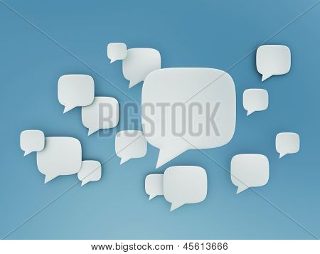 Chat Shape Cloud On Blue Sky
