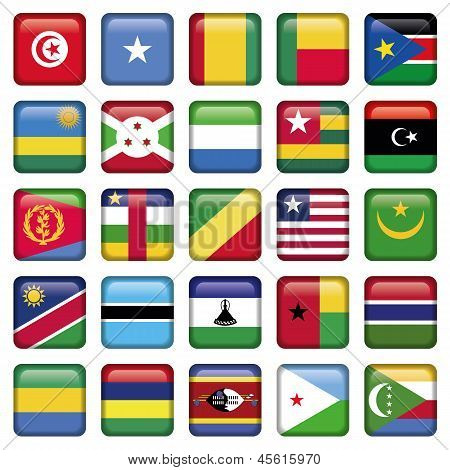 Africa Flags Square Buttons