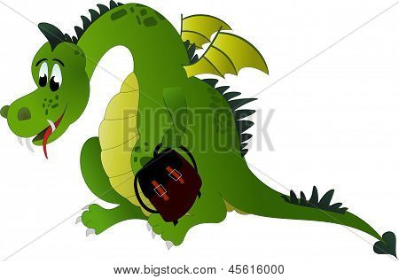 Little cartoon dragon with backpack in hand poster