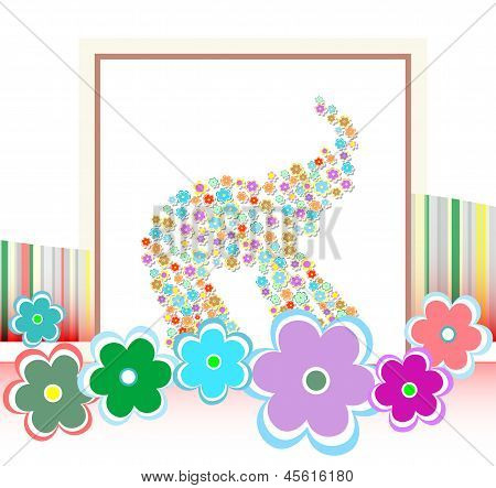 Happy Birthday Card With Cute Elephants And Many Flowers