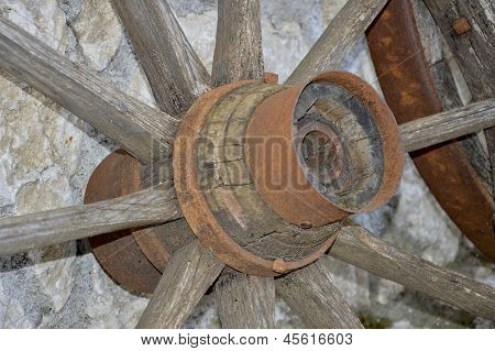 An Old Wooden Wheel