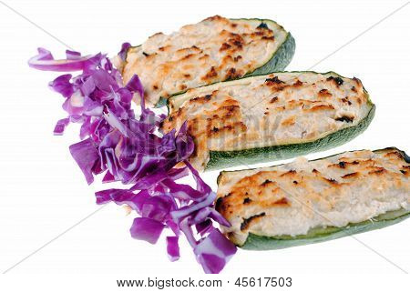 stuffed zucchini with tuna and cheese isolated on white