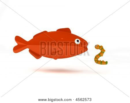3d render of a big fish with a worm bait poster