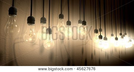 Light Bulb Hanging Wall Arrangement Perspective