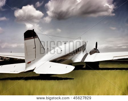 transport aircraft (twin-engined DC-3) the ground